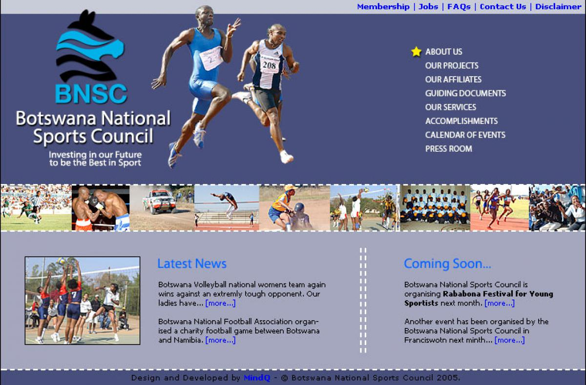 Botswana National Sports Council 2005 Mindq Website Design And Web Development Agency In